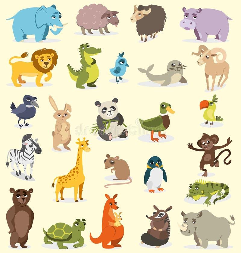 Uppsättning av olika djur fåglar däggdjur, reptilar bakgrund som tecknar den blom- gräsvektorn stock illustrationer