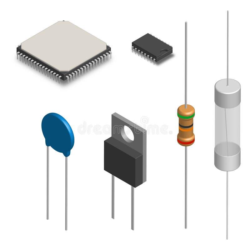 Uppsättning av olika elektroniska delar i 3D, vektorillustration stock illustrationer