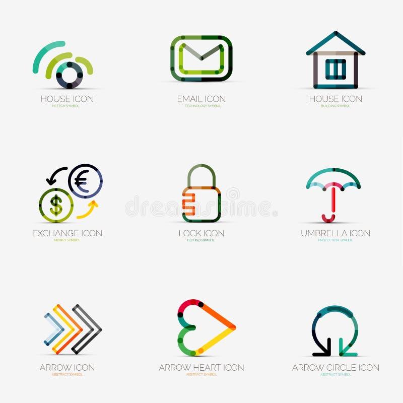 Uppsättning av olika företagslogoer, affärssymboler vektor illustrationer