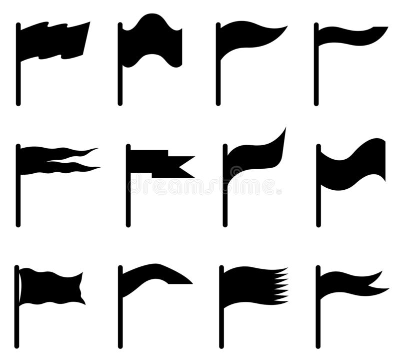 Uppsättning av olika flaggor vektor illustrationer