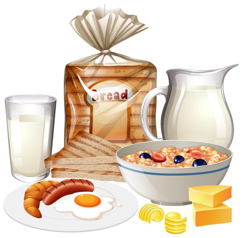 Uppsättning av olika frukostfoods arkivbild
