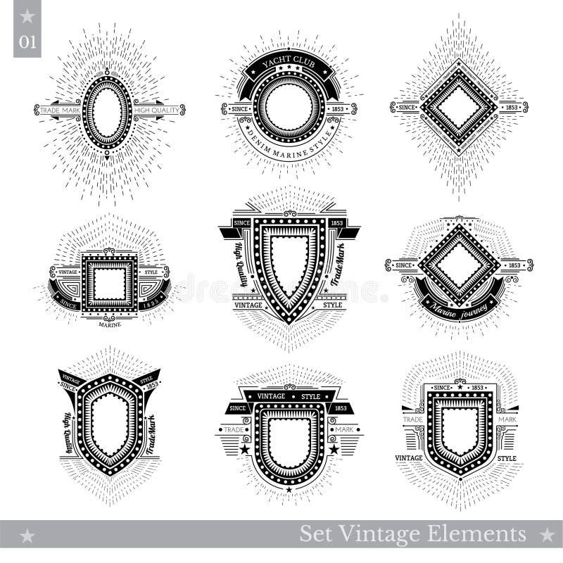 Uppsättning av olika geometriska sköldar med den ljusa strålen vektor illustrationer