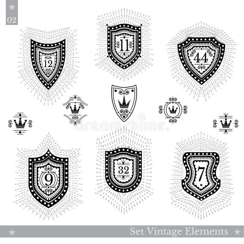 Uppsättning av olika geometriska sköldar med den ljusa strålen Mallar för Hipstertappningstil för affärstecken, etiketter, logoer stock illustrationer