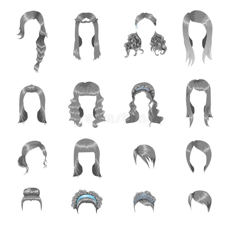 Uppsättning av olika gråa frisyrer för kvinnor stock illustrationer
