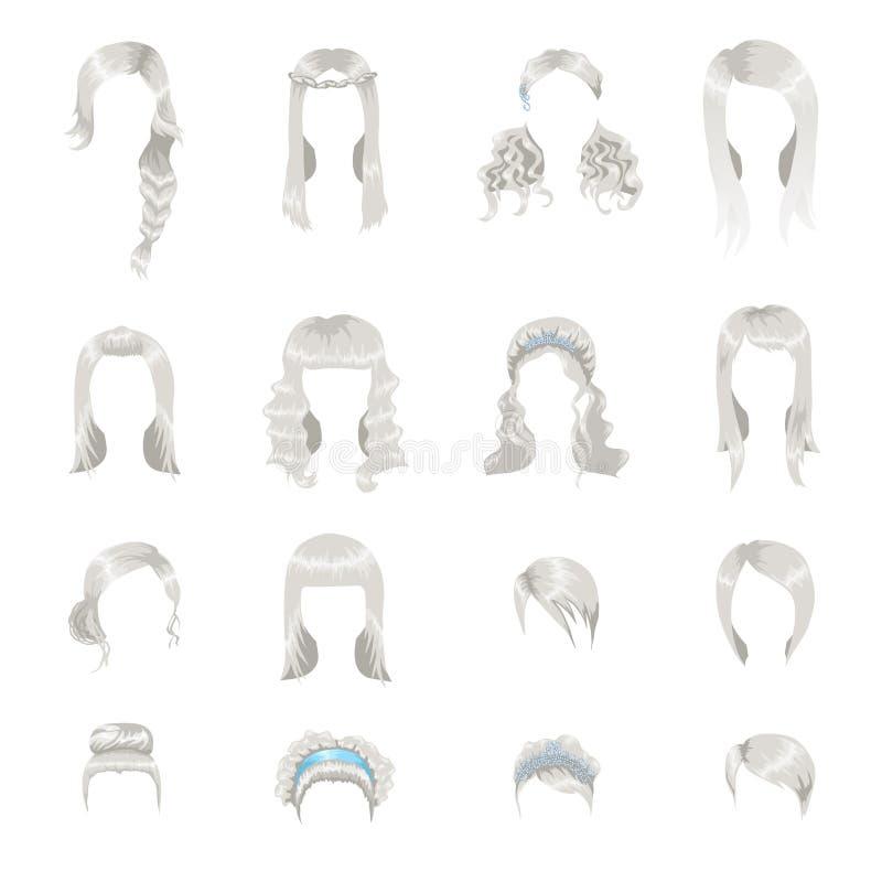 Uppsättning av olika gråa frisyrer för kvinnor vektor illustrationer