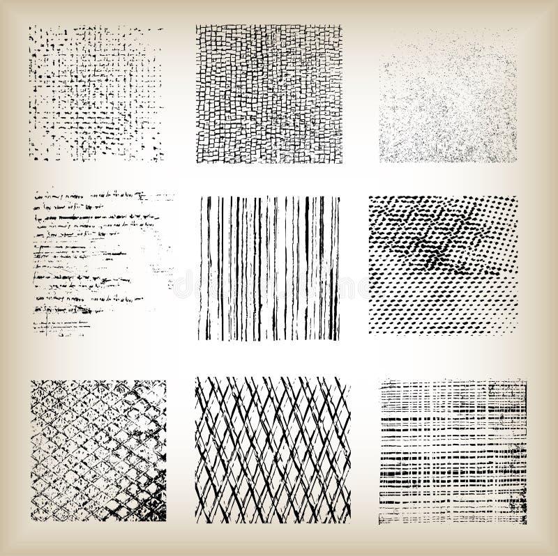 Uppsättning av olika grungebakgrunder, vektor vektor illustrationer