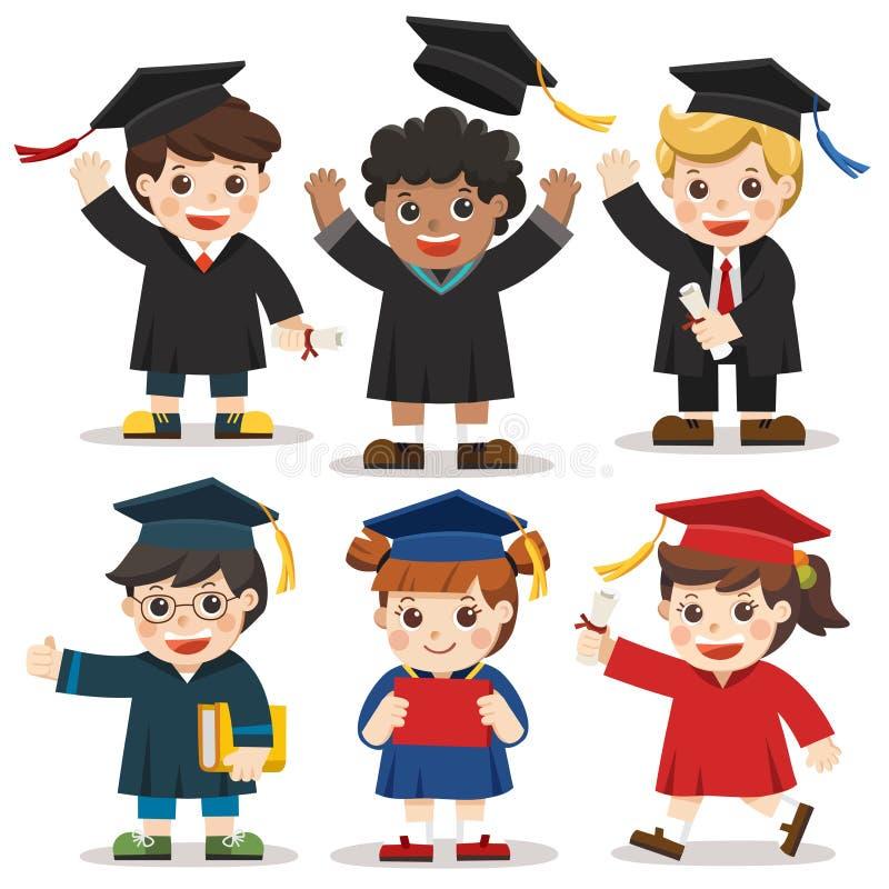 Uppsättning av olika högskola- eller universitetavläggande av examenstudenter stock illustrationer