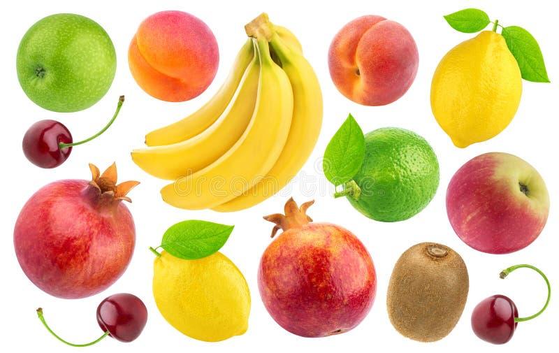 Uppsättning av olika hela frukter och bär som isoleras på vit bakgrund royaltyfri fotografi