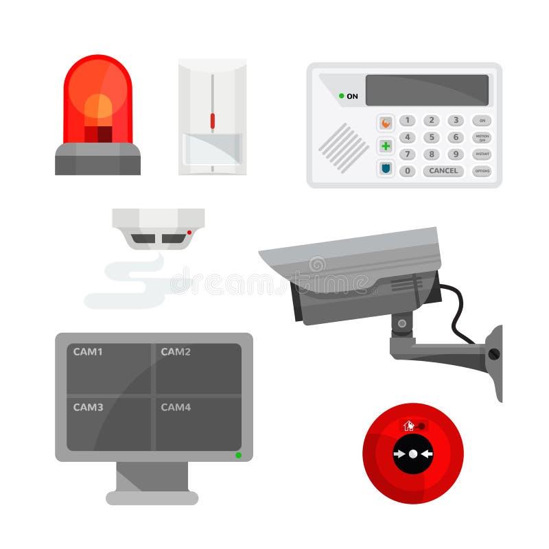 Uppsättning av olika illustrationer för säkerhetssystemapparater vektor illustrationer