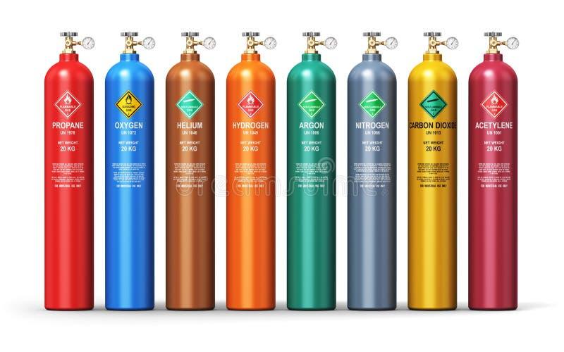 Uppsättning av olika industriella smälte gasbehållare stock illustrationer