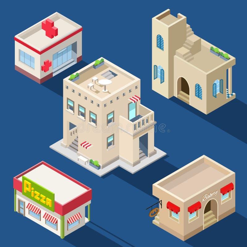 Uppsättning av olika isometriska byggnader royaltyfri illustrationer