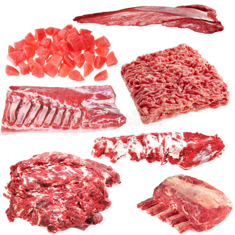 Uppsättning av olika köttprodukter arkivbilder