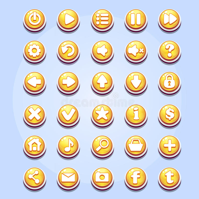 Uppsättning av olika knappar för dataspelvalentin dag royaltyfri illustrationer