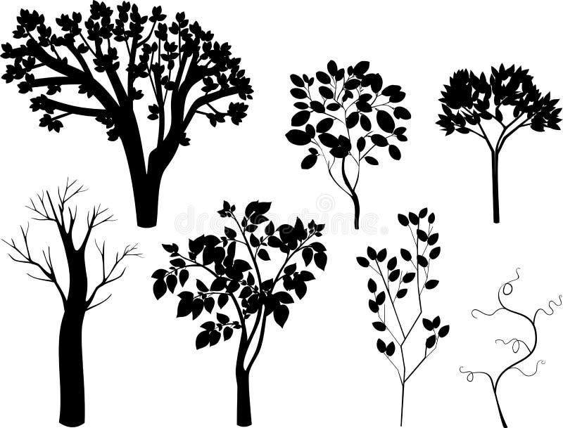 Uppsättning av olika konturer av träd vektor illustrationer