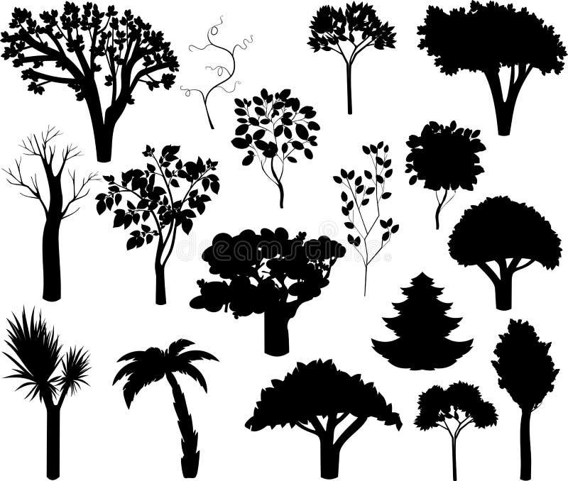 Uppsättning av olika konturer av träd stock illustrationer