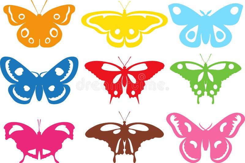 Uppsättning av olika kulöra konturfjärilar på vit bakgrund också vektor för coreldrawillustration vektor illustrationer