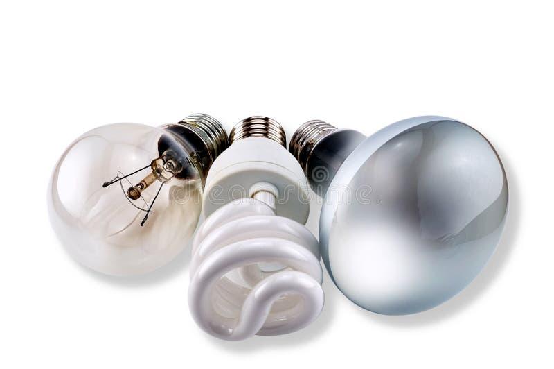 Uppsättning av olika kulor: glöd, CFL och matt royaltyfri foto