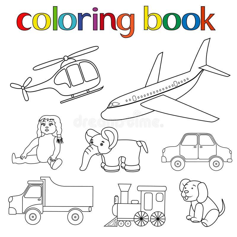 Uppsättning av olika leksaker för färgläggningbok royaltyfri illustrationer