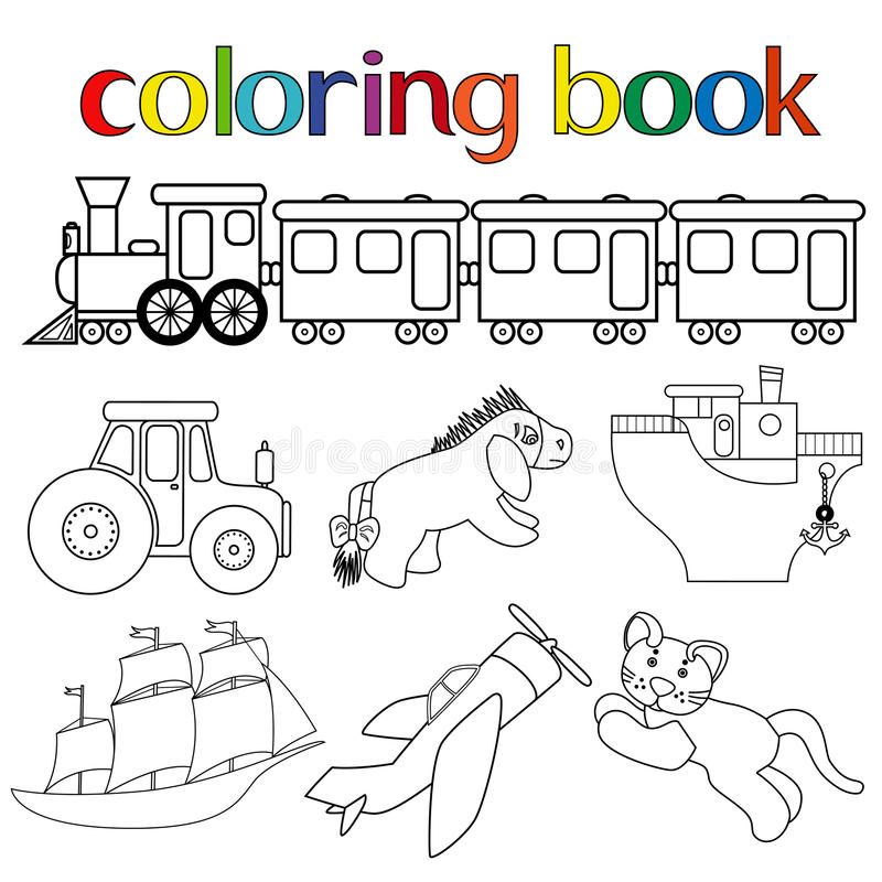 Uppsättning av olika leksaker för färgläggningbok stock illustrationer