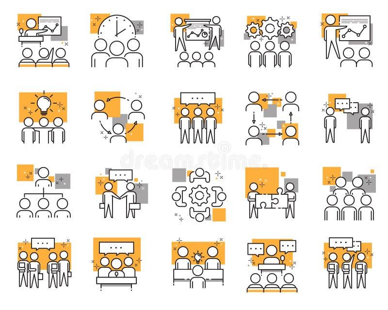 Uppsättning av olika mötesikoner: möten, hjärnstorm, grupppersonal, konferens, ledare, diskussion royaltyfri illustrationer