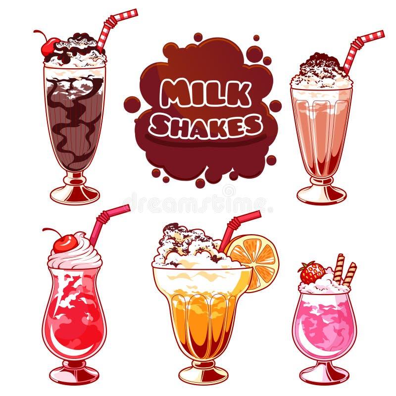 Uppsättning av olika milkshakar stock illustrationer