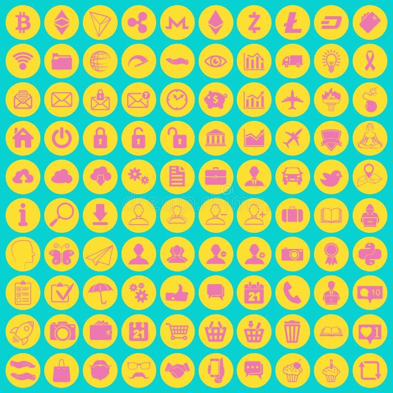 Uppsättning av 100 olika moderiktiga kulöra plana multimedia, samkväm och vektor illustrationer
