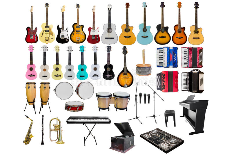 Uppsättning av olika musikinstrument som isoleras på vit bakgrund fotografering för bildbyråer