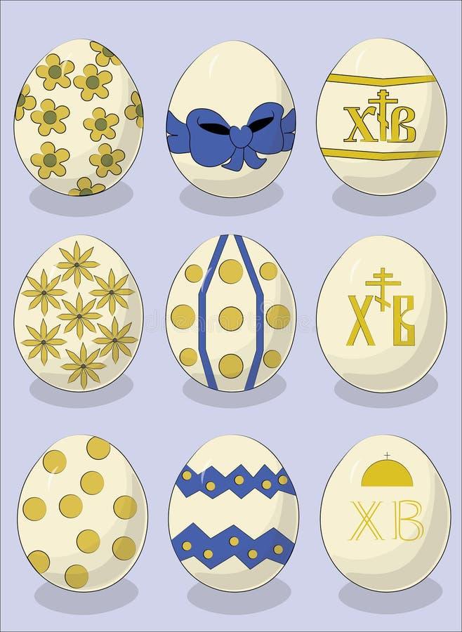 Uppsättning av olika påskägg på ett ljus - blå bakgrund Lyckliga påskägg lyckliga easter stock illustrationer