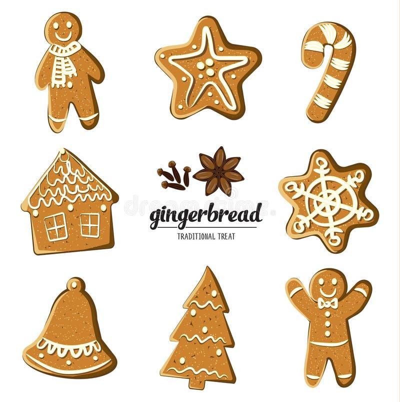 Uppsättning av olika pepparkakor: man, julgran, klocka, stjärna, snöflinga, godisrotting och hus Illustrerad vektor vektor illustrationer