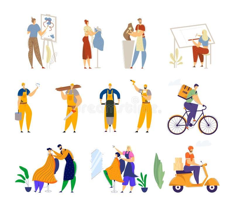 Uppsättning av olika personalyrken och jobbyrken Painter Dress Designer Sculptor Architect, Road Repair Workers royaltyfri illustrationer