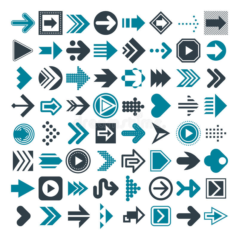 Uppsättning av olika pilar och markörer vektor royaltyfri illustrationer