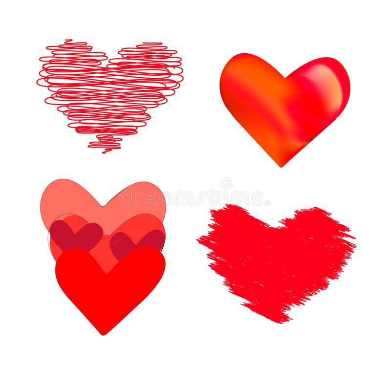 Uppsättning av olika röda hjärtor vektor illustrationer