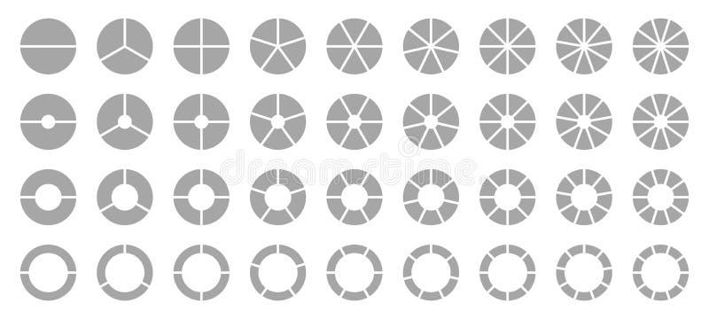 Uppsättning av olika runda grafiska cirkeldiagramgrå färger stock illustrationer