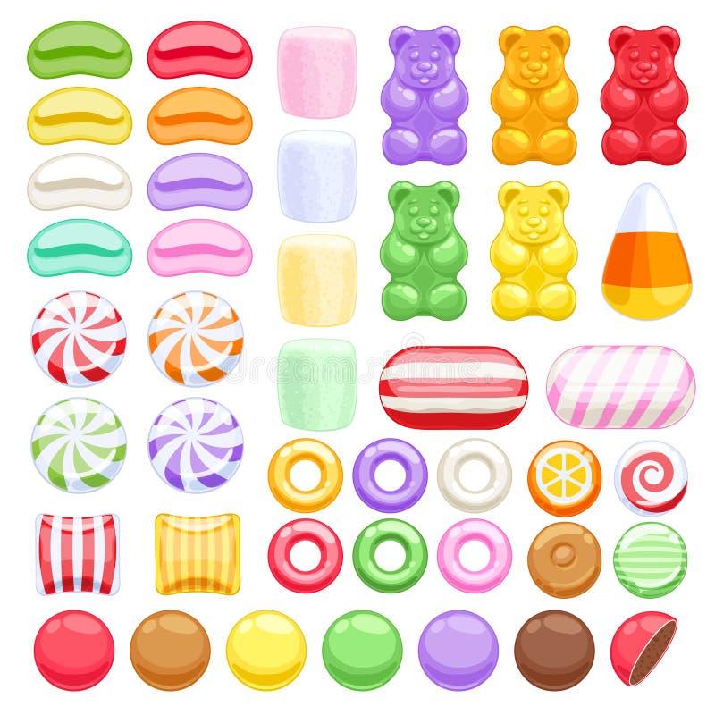 Uppsättning av olika sötsaker blandade godisar vektor illustrationer