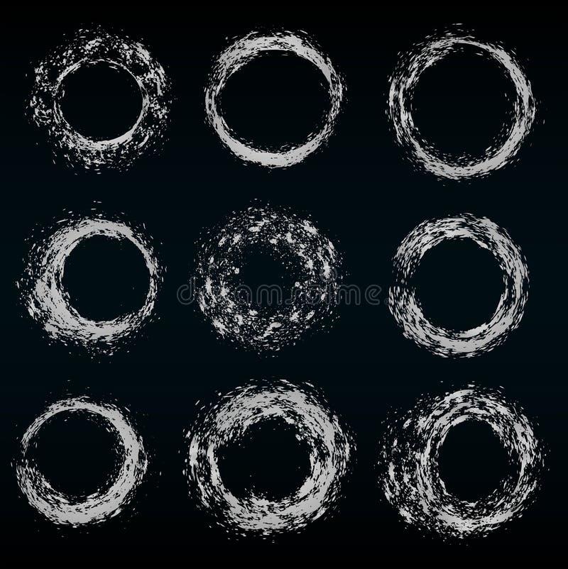 Uppsättning av olika silvercirklar, vektor vektor illustrationer