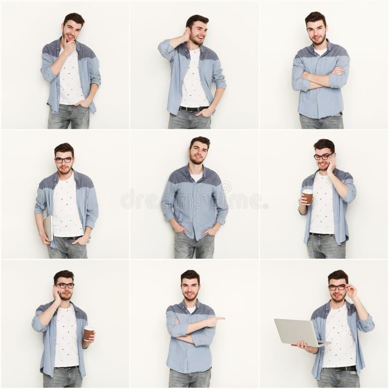 Uppsättning av olika sinnesrörelser för ung man på vit studiobakgrund arkivfoton