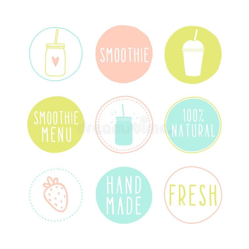 Uppsättning av olika smoothieetiketter stock illustrationer