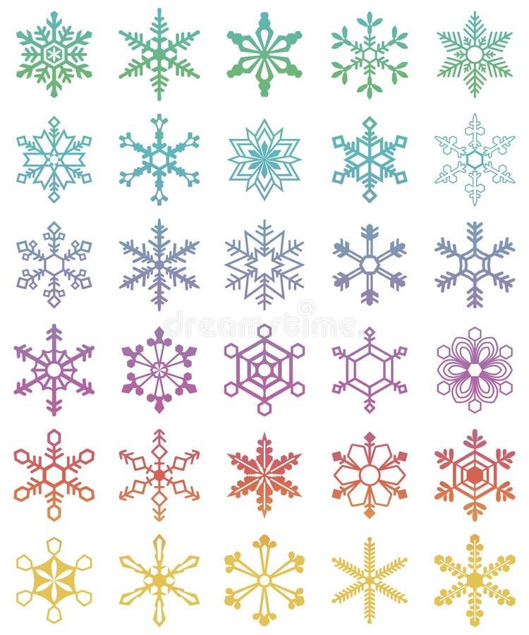 Uppsättning av 30 olika snöflingor royaltyfri illustrationer