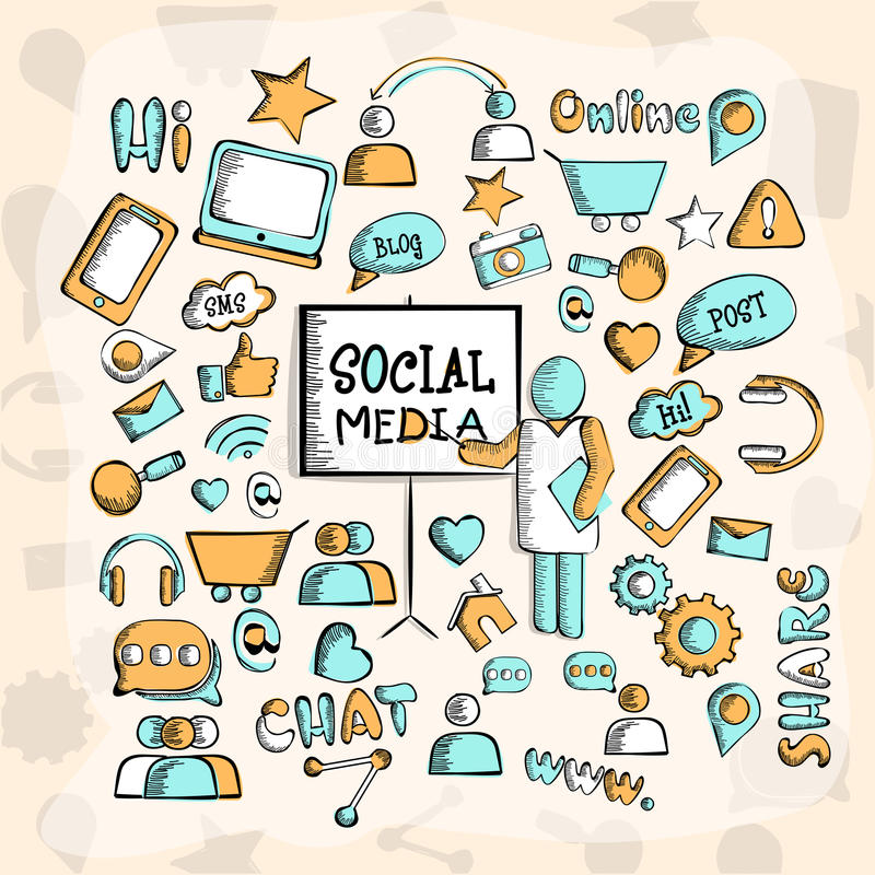 Uppsättning av olika sociala massmediasymboler stock illustrationer
