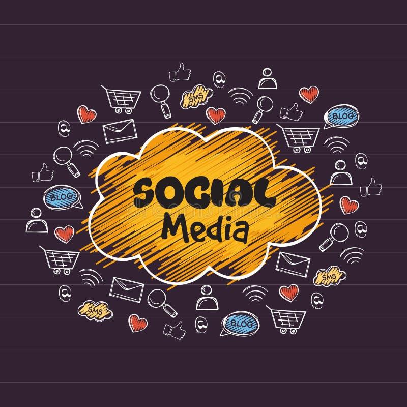 Uppsättning av olika sociala massmediasymboler royaltyfri illustrationer