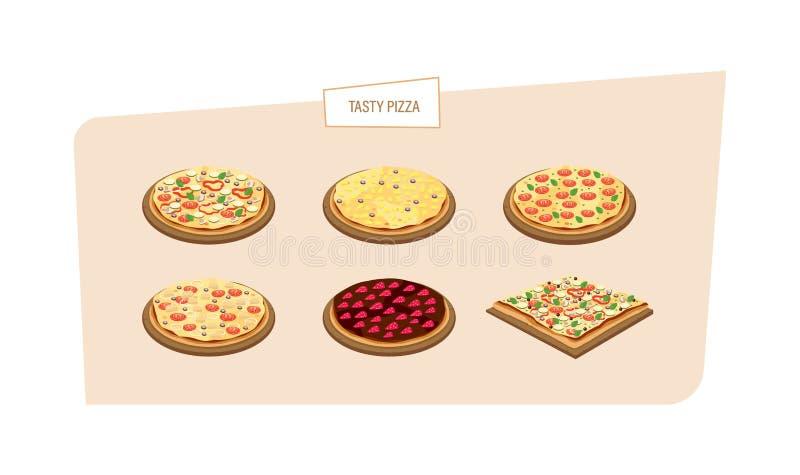 Uppsättning av olika sorter av pizza med olika ingredienser, såser royaltyfri illustrationer