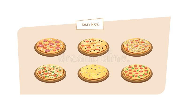 Uppsättning av olika sorter av pizza med olika ingredienser, såser stock illustrationer