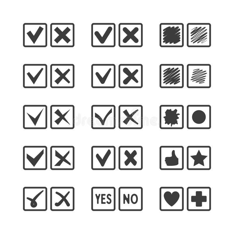 Uppsättning av olika symboler för vektorkontrollask för att rösta överenskommelsebekräftelsegodtagande och uppgiftslistan stock illustrationer