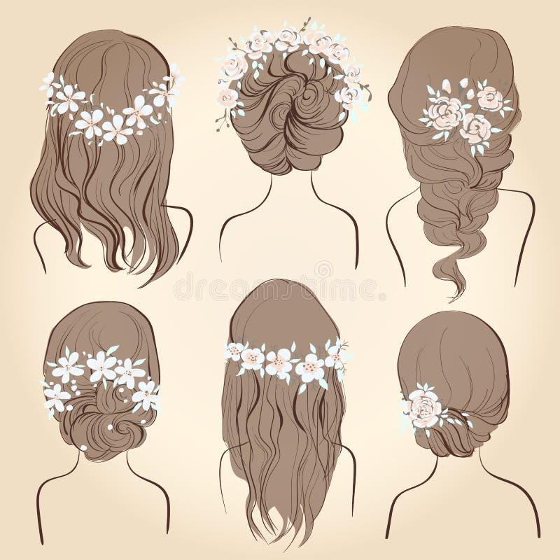 Uppsättning av olika tappningstilfrisyrer som gifta sig frisyrer royaltyfri illustrationer