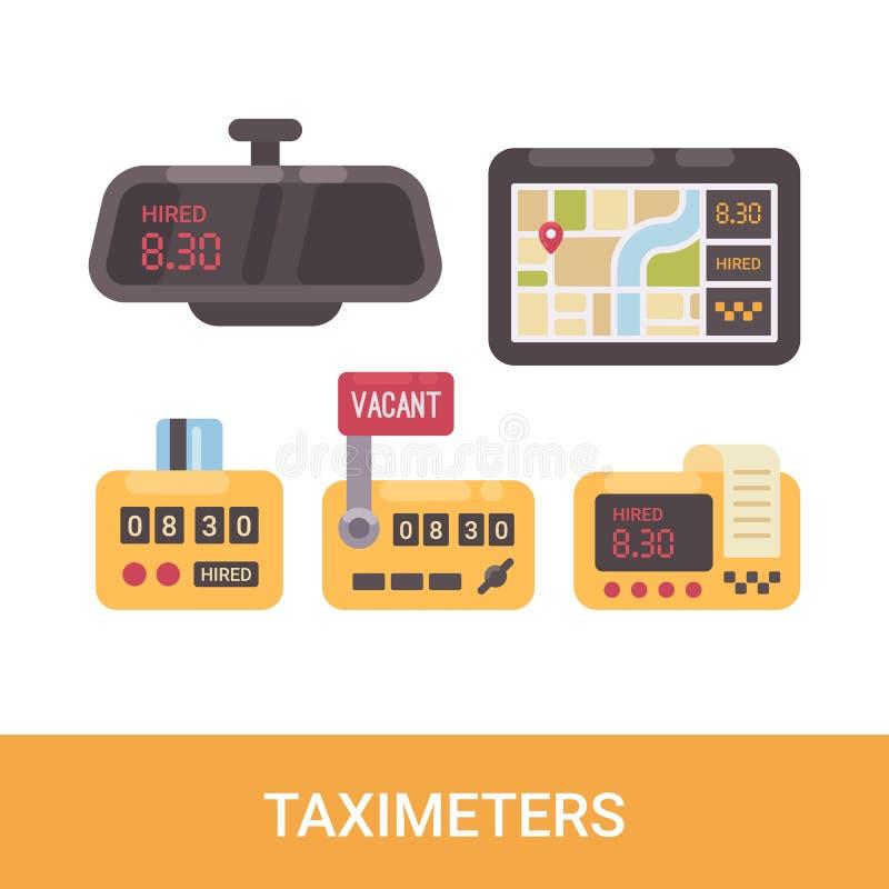 Uppsättning av olika taxametrar Symboler för tjänste- lägenhet för taxi stock illustrationer