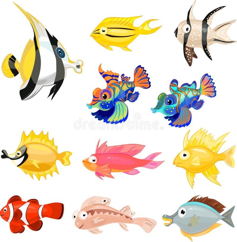 Uppsättning av olika tropiska marin- akvariefiskar stock illustrationer