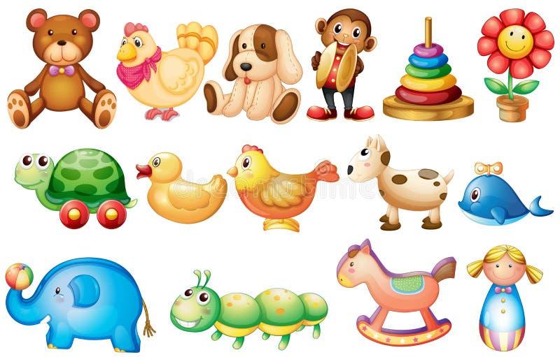 Uppsättning av olika typer av leksaker vektor illustrationer