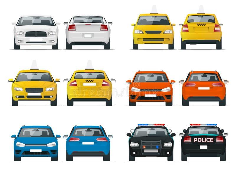Uppsättning av olika typer av bilar Gul taxi-, polis- och sedantaxi som isoleras över den vita bakgrundsvektorillustrationen stock illustrationer