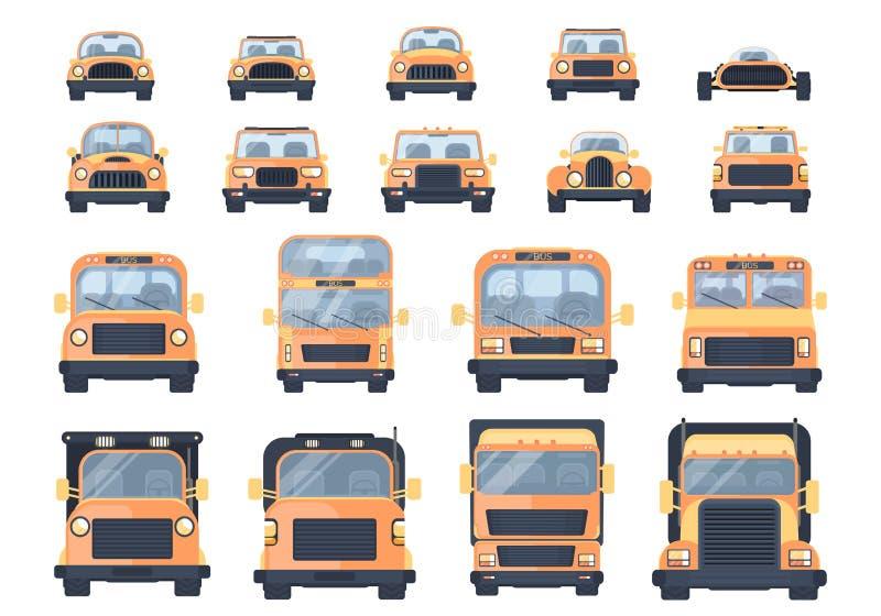 Uppsättning av olika typer av transport Stadsbilen, väljer upp, roadster, den varma vägen, SUV, bussen, lastbilen, den tunga last vektor illustrationer