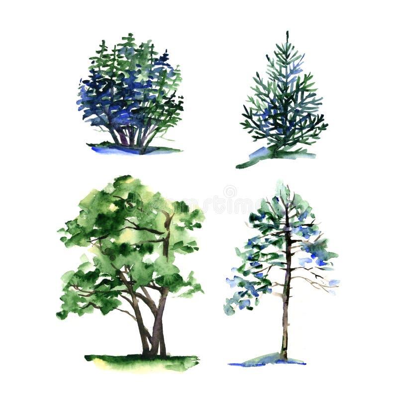 Uppsättning av olika typvattenfärgträd stock illustrationer